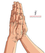 Praying hands, detailed vector illustration. — Stock Vector