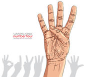Numbers hand signs set, number four, detailed vector illustratio — Stock Vector
