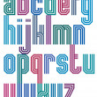 ������, ������: Triple stripe geometric font retro style typeface made with str