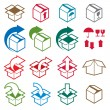 Packaging boxes icons isolated on white background vector set, p — Stock Vector #51748261