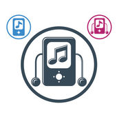 Mp3 player round icon isolated, single color vector music theme — Stock Vector