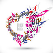 I love music template in red pink and violet colors, rotated in  — Stock Vector
