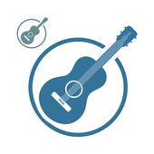 Acoustic guitar music icons isolated. — Stock Vector