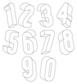 3d black and white numbers made with lines. — Stock Vector