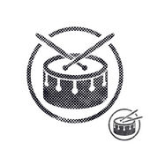 Drum snare icon with halftone dots print texture. — Stock Vector