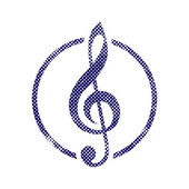 Treble clef icon with halftone dots print texture. — Wektor stockowy