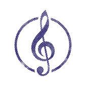 Ikona wiolinowy z rastra punktów tekstury wydruku. — Wektor stockowy