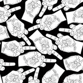 Middle finger hands seamless pattern, black and white vector bac — Stock Vector