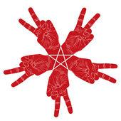 Five victory hands abstract symbol with pentagonal star, vector  — Vetorial Stock