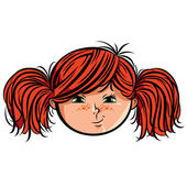 Red head girl smiley. — Stock Vector