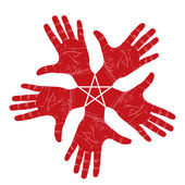 Five open hands abstract symbol with pentagonal star, detailed v — Vetorial Stock