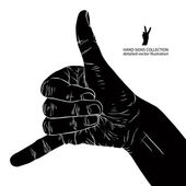 Call me hand sign, detailed black and white vector illustration. — Stock Vector