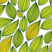 Seamless floral pattern, green leaves seamless background, hand  — Stock Vector