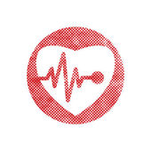 Cardiology icon with heart and cardiogram, vector icon with pixe — Stock Vector
