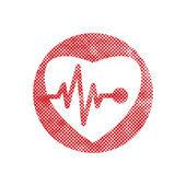 Icono de Cardiología con el corazón y cardiograma, icono vector con pixe — Vector de stock