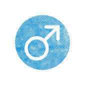 Male symbol Mars vector icon with pixel print halftone dots text — ストックベクタ