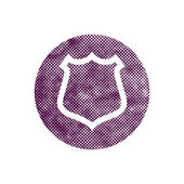 Safety vector shield icon with pixel print halftone dots texture — Stock Vector