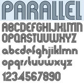 PARALLEL stripes retro style font, vector alphabet. — Stock Vector