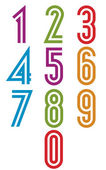 Double stripes funky numbers set. — Stock Vector