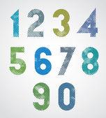 Halftone print dots textured geometric numbers. — Stok Vektör