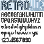 Retro Line stylish font, vector alphabet. — Stockvektor