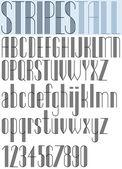 Elegant Tall Striped retro style artistic font. — Vector de stock