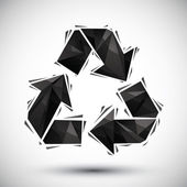 Black recycle geometric icon made in 3d modern style, best for u — ストックベクタ