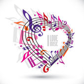 I love music template in red pink and violet colors. — Stock Vector
