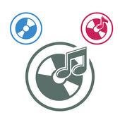 Audio cd icon, single color vector music theme symbol for your d — Vecteur
