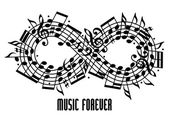 Forever music concept. — Stock Vector
