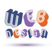Web Design advertising phrase made with 3d retro style geometric — ストックベクタ