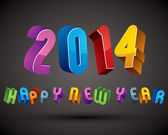 2014 Happy New Year card with phrase made with 3d retro style ge — Stock Vector