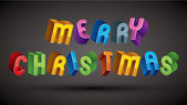 Merry Christmas greeting card with phrase made with 3d retro sty — Stock Vector
