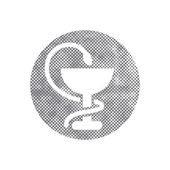 Pharmacy Icon with Caduceus Symbol with pixel print halftone dot — Vettoriale Stock