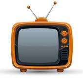 Bright orange retro TV set. — Stockvector