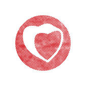 Heart vector icon with pixel print halftone dots texture. — Stock Vector