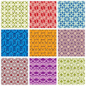Colorful vintage tiles seamless patterns set. — Stock Vector