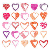 Hearts symbols vector set, different shapes and textures vector  — Stock Vector