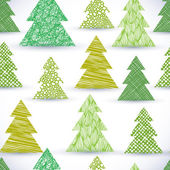 Christmass tree seamless pattern, hand drawn lines textures used — Stock Vector