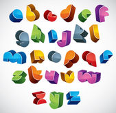 3d futuristic font, vector bright and colorful letters. — Stock Vector