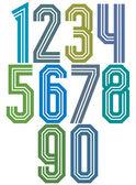 Retro stripe geometric numbers. — Stock Vector