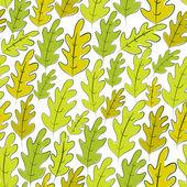 Oak leaves seamless pattern, vector background. — Stock Vector
