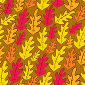 Fall oak leaves seamless pattern, vector background. — Stock Vector