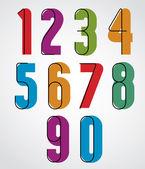 Retro numbers, bold condensed numerals set. — Stock Vector