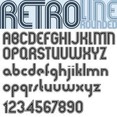 Retro triple line stripes font, pattern old style alphabet. — Stock Vector