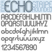 INNER ECHO retro striped rounded font. — Stock Vector