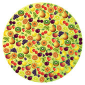 Fruits abstract composition, different fruits icon set, vector i — Stock Vector