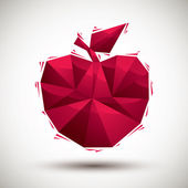 Red apple geometric icon made in 3d modern style, best for use a — Stock Vector