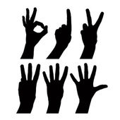 Numbers hand signs set, detailed black and white lines vector si — Stock Vector