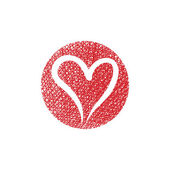 Heart vector round icon with hand drawn lines texture. — Stock Vector